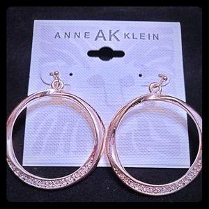 Anne Klein Gold Hoop Earings With Pave Rhinestones